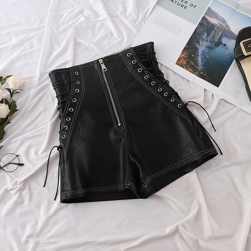 Pu Leather Shorts Women High Waist Punk Rock Lace Up Drawstring Bandage Zipper Autumn 2018 Fashion Wide Leg Shorts Black Beige