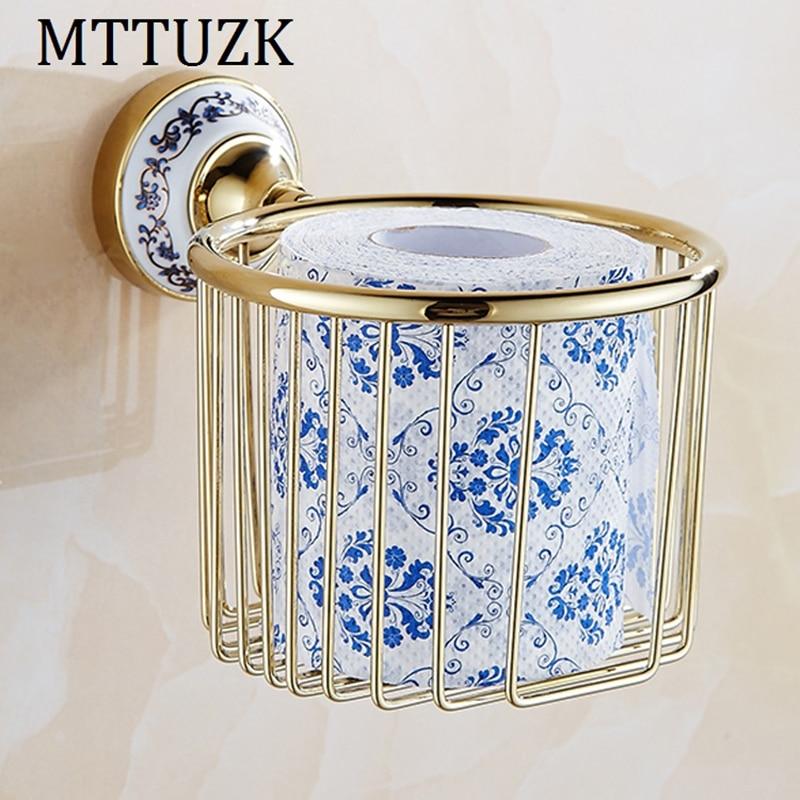 Mttuzk Golden Brass Blue White Porcelain Base Toilet