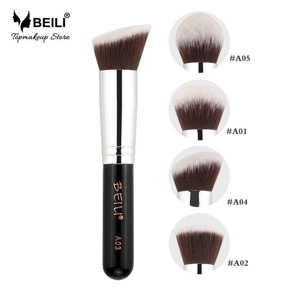 BEILI Kabuki Soft Dense Grey Synthetic Hair Powder Foundation Blusher Contour Makeup Brush beili single 104 flat kabuki single synthetic hair face для умывальника румяна черная макияжная кисть