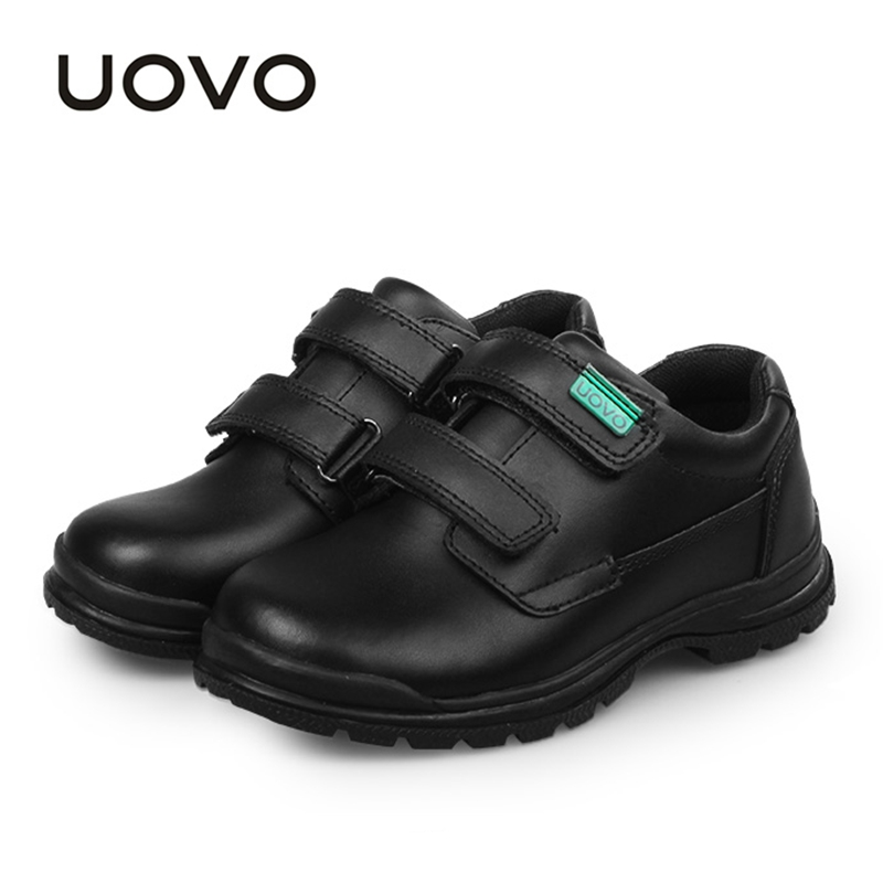 UOVO Children Shoes 2018 Spring And Autumn Black Genuine Leather Shoes School Students Kids Shoes Casual Shoes For Boys #30-37