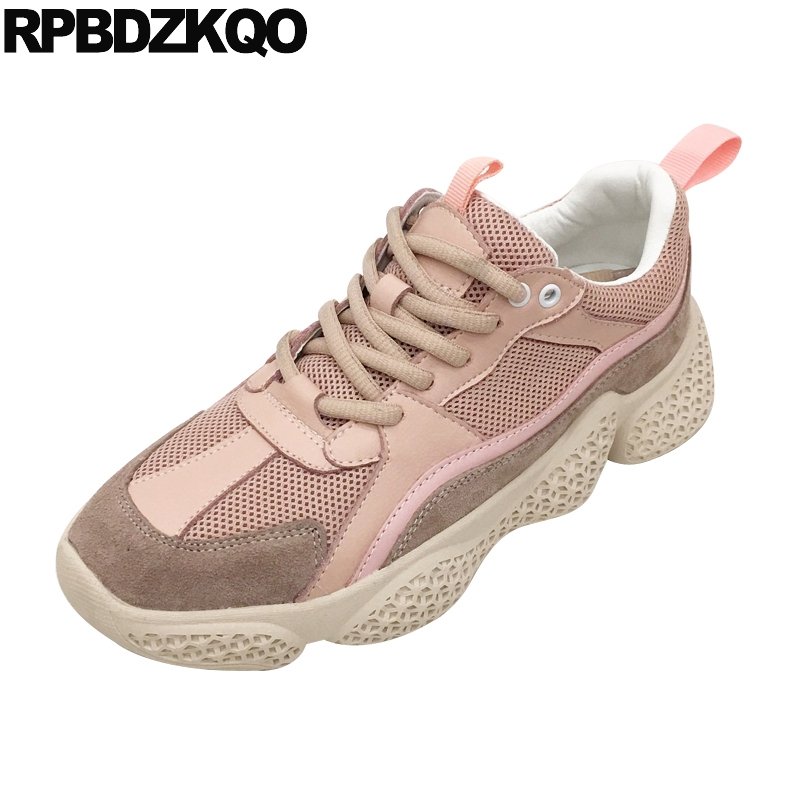 casual elevator sneakers pink lace up cowhide creepers platform shoes mesh genuine leather thick sole trainers breathable womencasual elevator sneakers pink lace up cowhide creepers platform shoes mesh genuine leather thick sole trainers breathable women