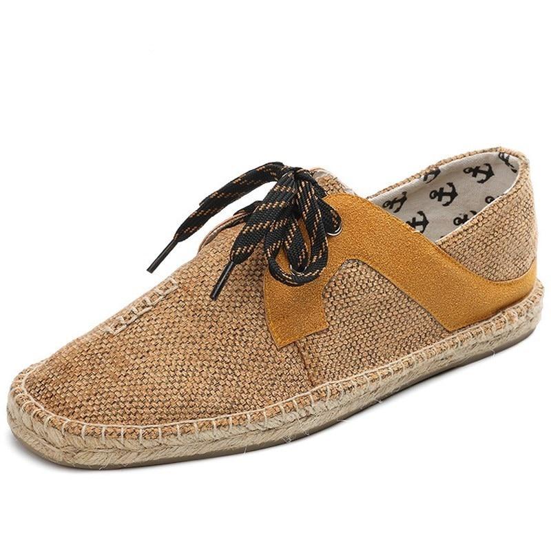 2018 Hemp Soft Men Casual Shoes Lace-Up Men Shoes Breathable Male Espadrille Fisherman Shoes Flats RMC-852-1