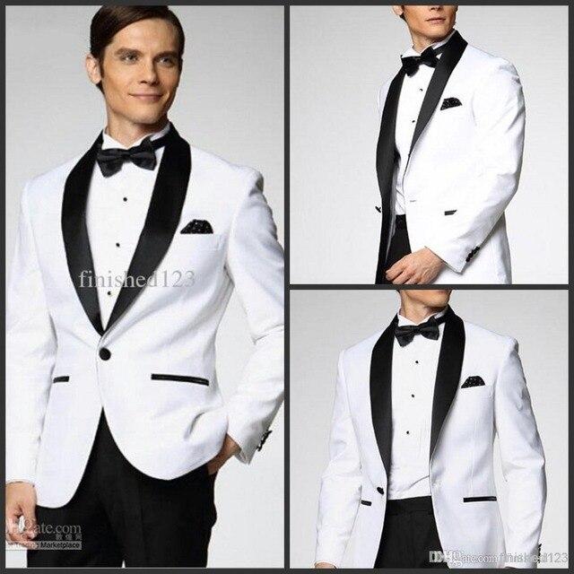 Venta superior chaqueta blanca con negro satinado solapa del novio Esmoquin  más estilo elegir los padrinos 25223988b61