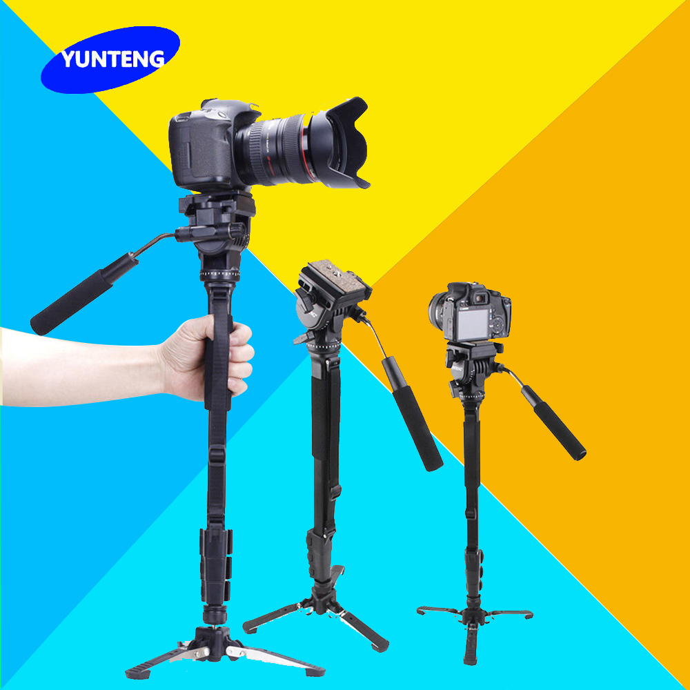Yunteng C288 Pro Monopod + Fluid Pan Head Ball + DV Unipod Mobile Phone Clip Holder For Canon Nikon DSLR Camera VCT-288 штатив canon dv