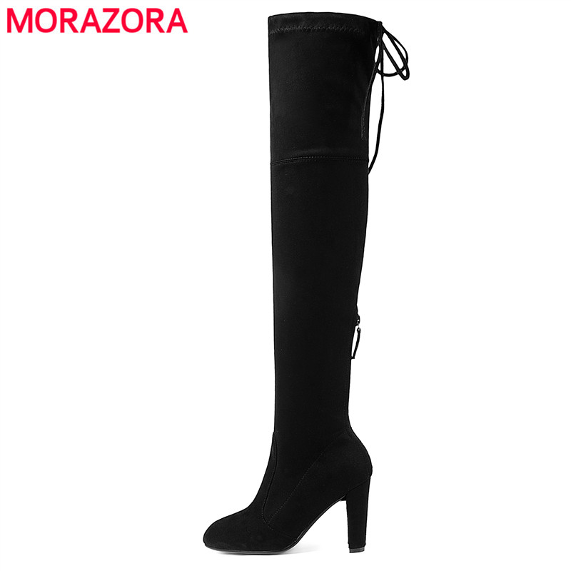 все цены на MORAZORA 2018 Newest Thigh High Boots Women High Heels Lace Up Over the Knee Boots Zip Autumn Winter Faux Suede Boots Lady Shoes