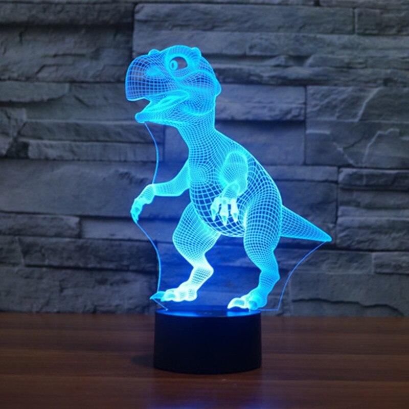 7 цветов динозавр лампы 3D визуальный индикатор Ночные светильники для детей сенсорный USB настольные лампы дома номер стол Настенный декор