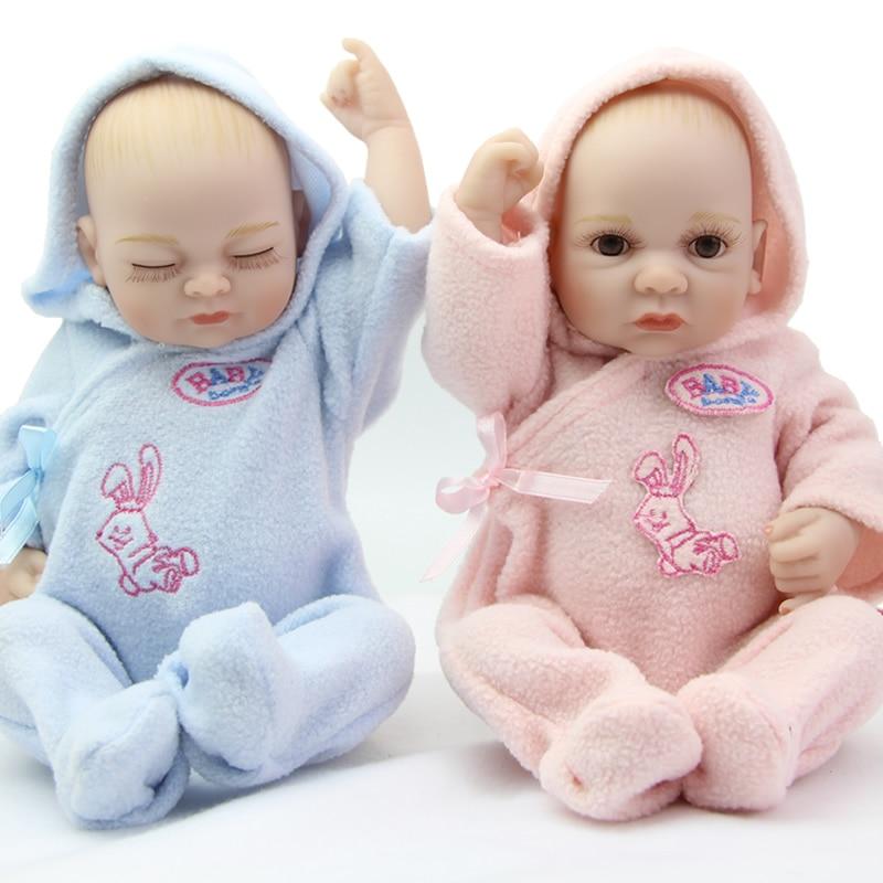 Lovely Reborn Girl And Boy Dolls Babies 11 Inch Little Peanut Full Body Silicone Vinyl Realistic Twins Boneca Kids Birthday Gift