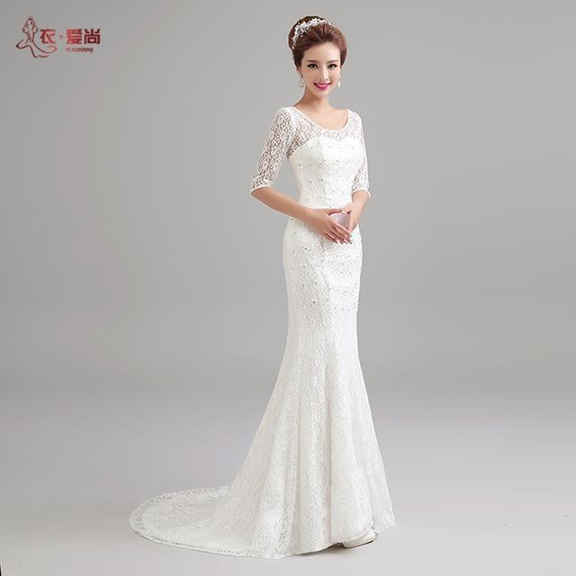 white fish tail lace wedding dress 2017 new beading silm raceback ...