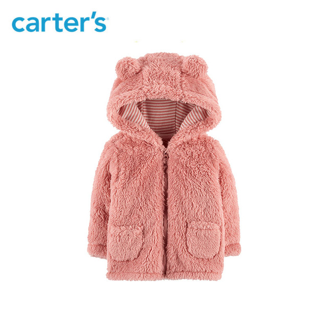 8074fa6f0b62 Carters Zip Up Sherpa Jacket Long sleeve ears hooded baby girl boy ...