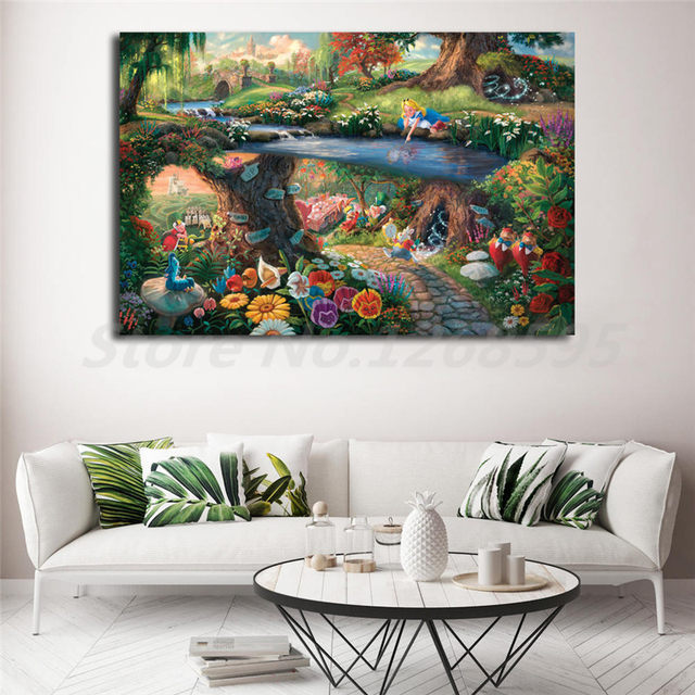 Online Shop Alice In Wonderland By Thomas Kinkade Canvas Posters ...