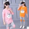 Retail niños chicas algodón de manga larga traje de 2016 nuevos niños del otoño Camiseta ocasional pantalones ropa de niña grande virgen 3-12 años