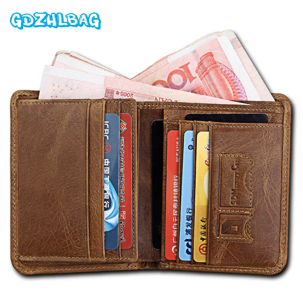 GDZHLBAG Wallet Men Coin Pocket Purse Mens Genuine Leather Walet Male Purse Small Portomonee Clamp For Money B180