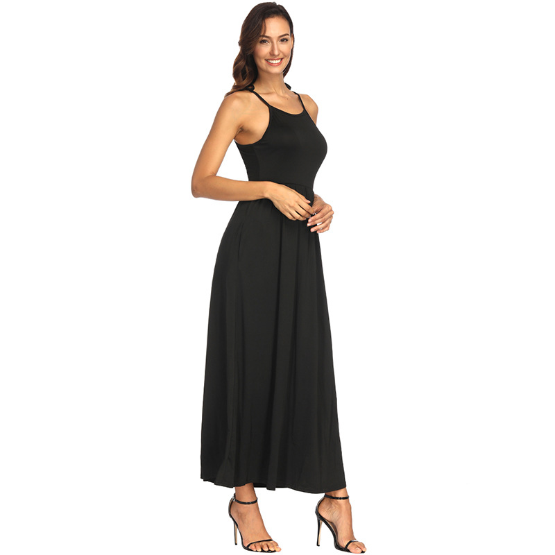 Summer women for party Casual Sling dress with pockets Off shoulder Beach solid elegant Sundress color dark green free shipping in Dresses from Women 39 s Clothing