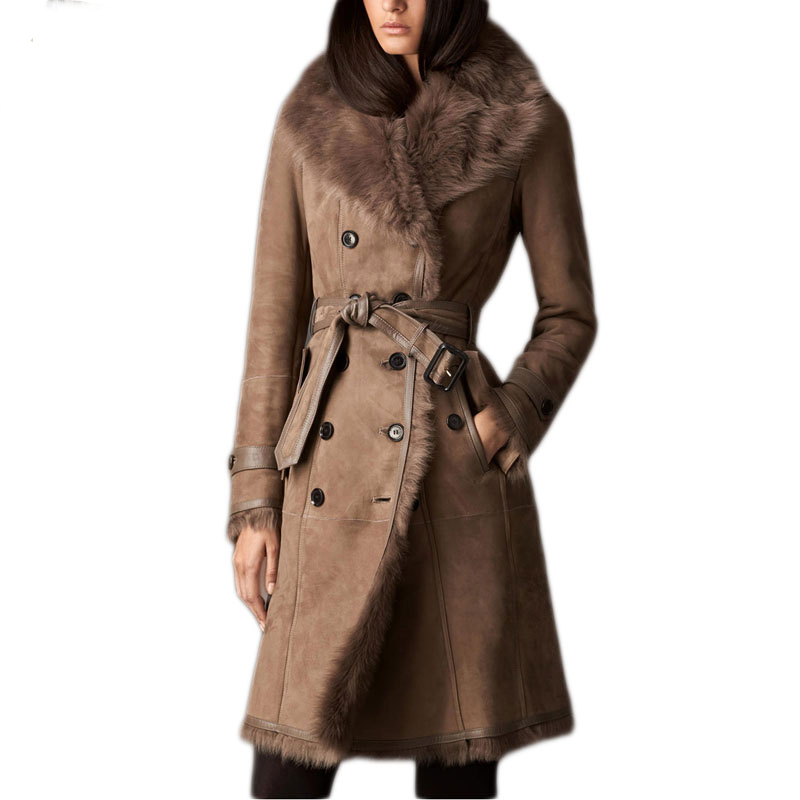 Fandy Lokar Real Fur Coat Fur font b Jackets b font With Leather Real Double Faced