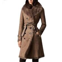 Fandy Lokar Real Fur Coat Fur Jackets With Leather Real Double-Faced Fur Shearling Coats Women Genuine Sheepskin Leather Winter
