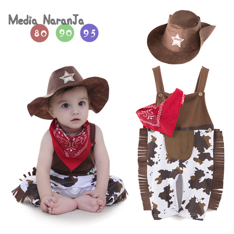 Baby boy   romper   costume infant toddler cowboy clothing set 3pcs hat+scarf+  romper   halloween purim event birthday outfits