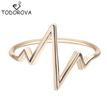 Todorova Fashion Jewelry Hot Selling Silver Lifeline Pulse Heartbeat Band Ring for Women Simple Vintage Accessories