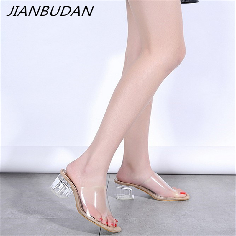 JIANBUDAN Open Toe Elegant womens transparent slippers PVC crystal slippers 6cm high heel summer outdoor sandals Size 35-40JIANBUDAN Open Toe Elegant womens transparent slippers PVC crystal slippers 6cm high heel summer outdoor sandals Size 35-40