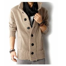 Hot New Autumn Winter Fashion Men's Casual Thick Warm Sweater Male Knitting Cardigan Solid Button Single Breasted Sweater Coat(China)