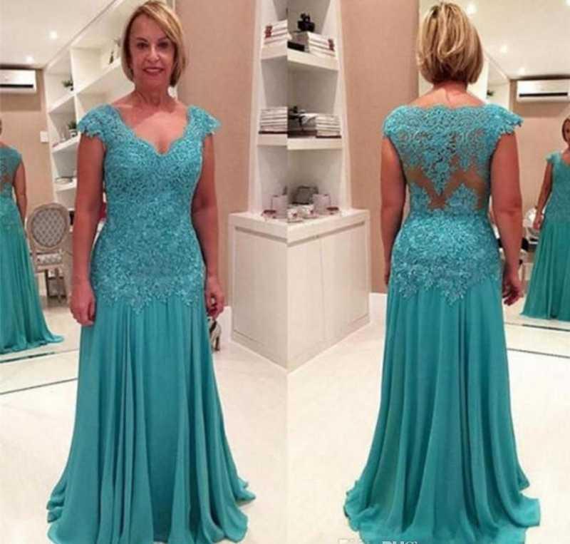Plus Size Moeder Van De Bruid Jurken Vestidos Madre De La Novia 2020 V-Hals Blauwe Chiffon Lange Avond jurken Met Applicaties