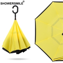 SHOWERSMILE Folding Reverse Umbrella Solid Yellow Black Inverted Windproof Uv Protection Double Layer