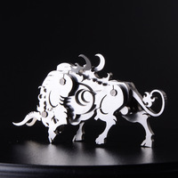 Finger Rock 3D Animals Metal Puzzles Tiger Chicken Cattle Model Assembly Stainless Steel Model Creative Gifts