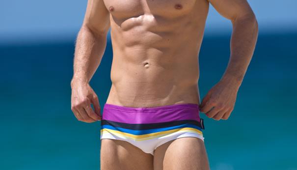 Topdudes.com - Men's Rainbow Stripes Hot Summer Swim Trunks