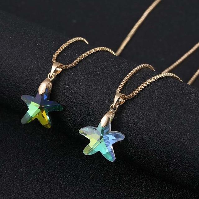 Crystal glass charm starfish pendant necklace for women transparent crystal glass charm starfish pendant necklace for women transparent shining color star jewlery gift aloadofball Choice Image