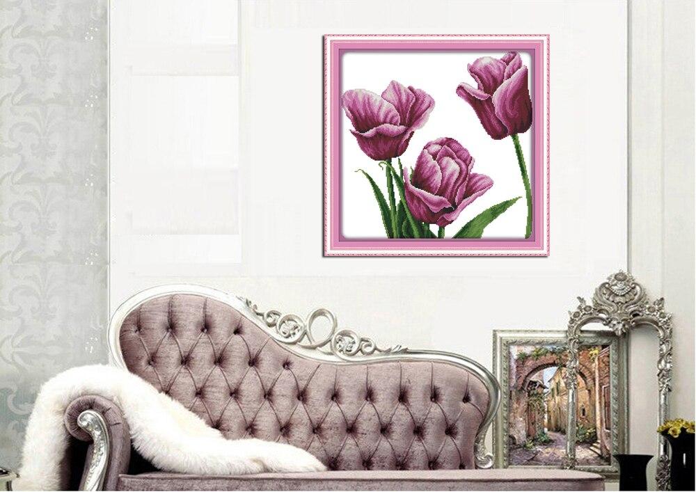 ⑥Alegría Domingo flor estilo tulipán púrpura fácil para imprimir ...