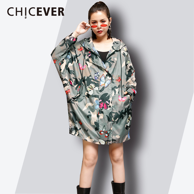 CHICEVER Print Hooides For Women Lace Up Batwing Sleeve Long Print Womens Windbreaker Loose Big Size Zipper Top 2018 Fashion