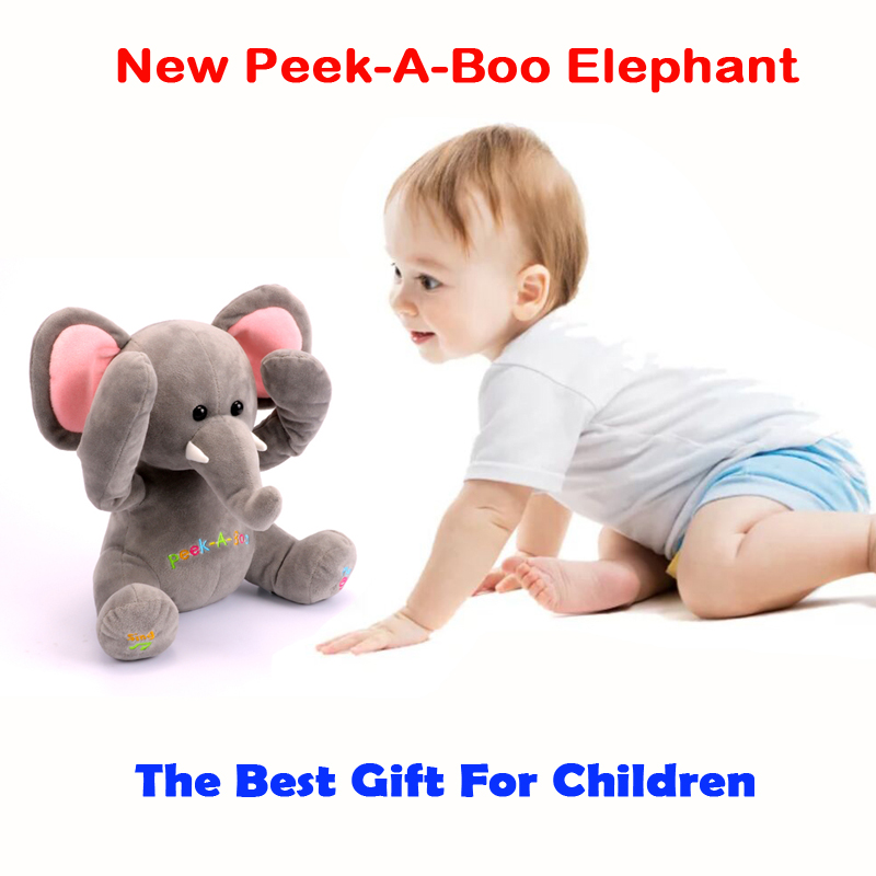 Free Shipping New Peek A Boo Elephant, Stuffed animated & Plush Toy elephant ,Singing Baby Music Toys For Kids Gift peek a boo elephant plush toy blue ears electronic elephant toy play hide and seek baby kids soft doll birthday gift for child