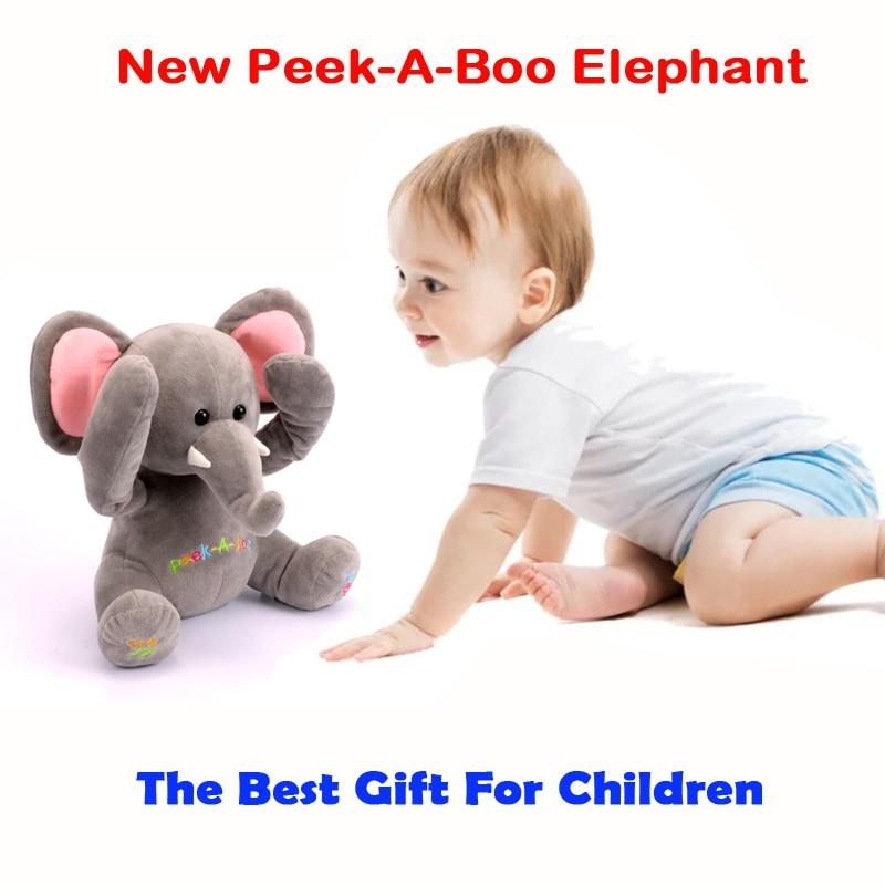 Free Shipping New Peek A Boo Elephant, Stuffed Animated & Plush Toy Elephant ,Singing Baby Music Toys For Kids Gift