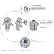 925 Sterling Silver Blue Evil Eye Hamsa Hand Stud Earrings With Clear CZ Crystal