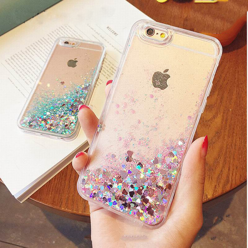 Lovely Liquid Pink Glitter Cover case For iPhone 6 cases 5 5S SE 6 6S 7 Plus Dynamic Quicksand Soft TPU Case