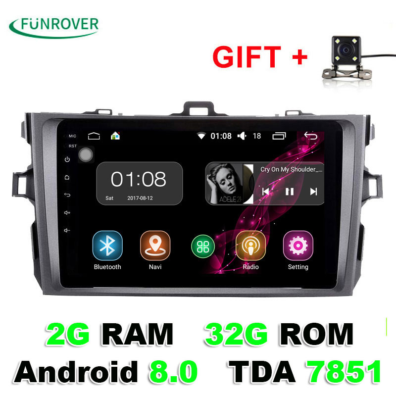 Autoradio Funrover 8 Inch 2g+32g 2 Din Android 8.0 Car Dvd Player For Toyota Corolla 2007 2008 2009 2010 2011 Radio Navigation