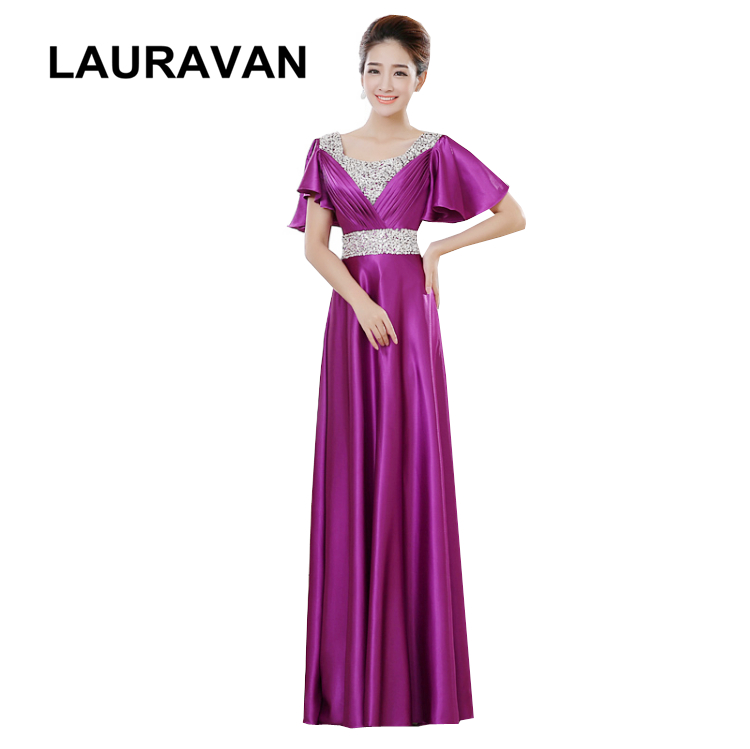 special occasion long women elegant dark purple and blue capped   bridesmaid     dress   ladies   dresses   formal gown for wedding guest