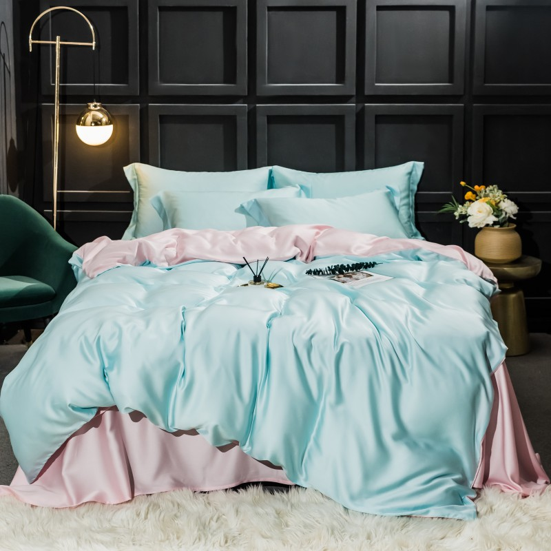 Duvet cover with Bue and Pink 2 color Fresh Simple style Bedding Set Queen King size High Thread Count Long Staple Bed sheet set image