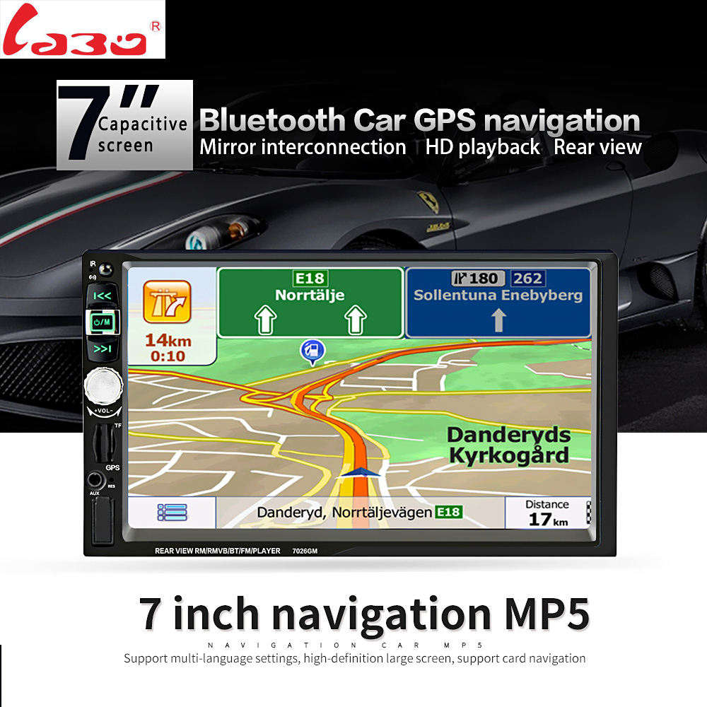 7026GM Car MP5 Player With GPS function 7 HD 2 Din Touch Screen Bluetooth Steering Wheel Control Support TF USB AUX FM Radio 7inch 2 din hd car radio mp4 player with digital touch screen bluetooth usb tf fm dvr aux input support handsfree car charge gps