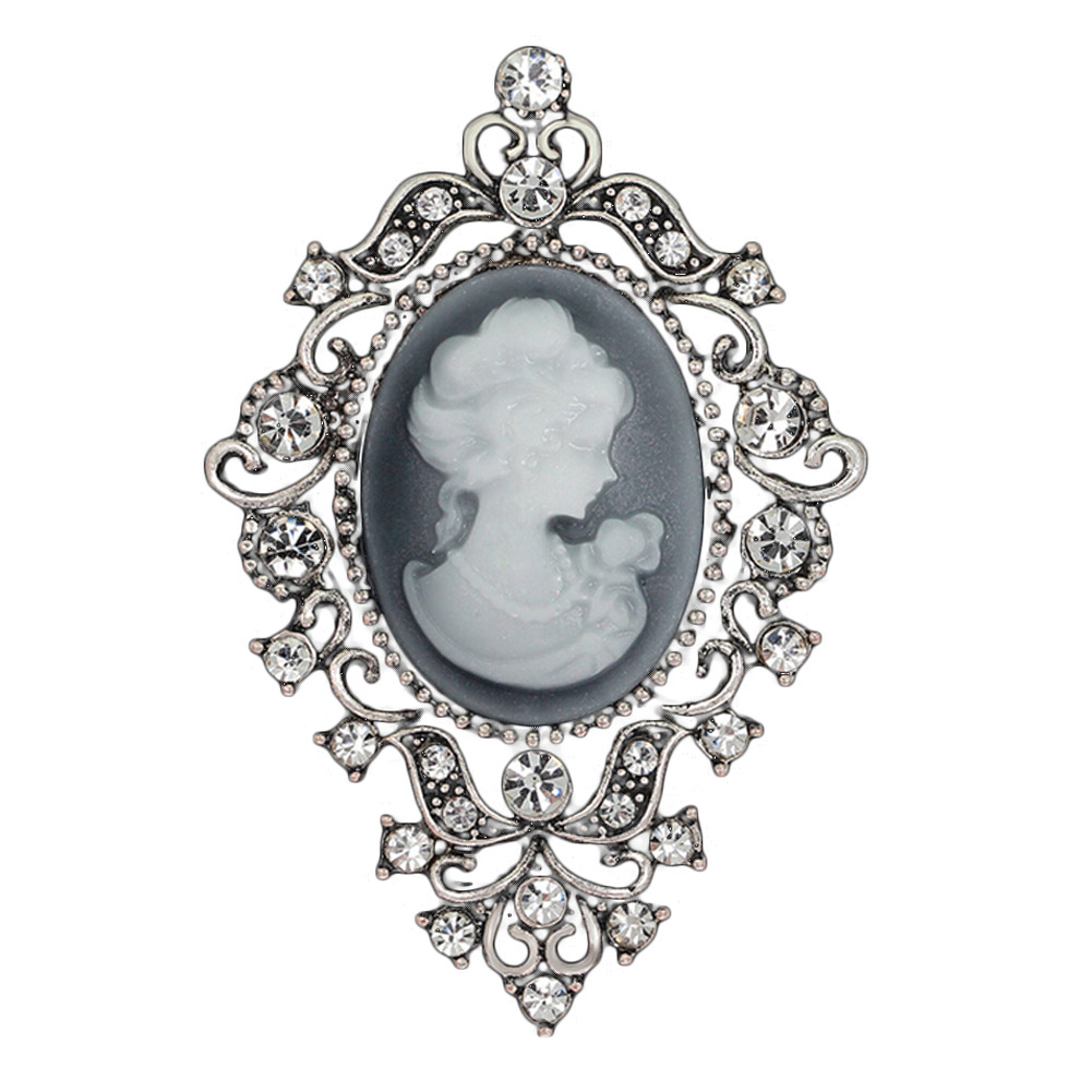 Fashion Vintage Jewelry Cameo Brooch Pin Beauty Queen Crystal Rhinestone  Christmas Antique Gold Silver Brooches For Women-in Brooches from Jewelry  ... b7dd1c6ecf2b