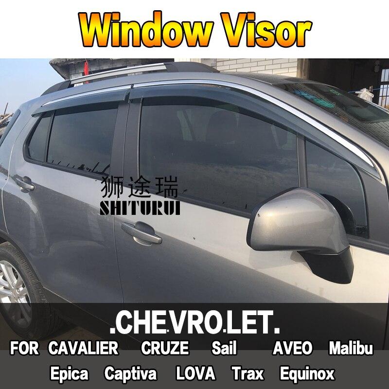 Fenêtre visière Vent soleil pluie déflecteur garde pour CHEVROLET CAVALIER CRUZE voile AVEO Malibu Epica Captiva LOVA Trax Equinox berline