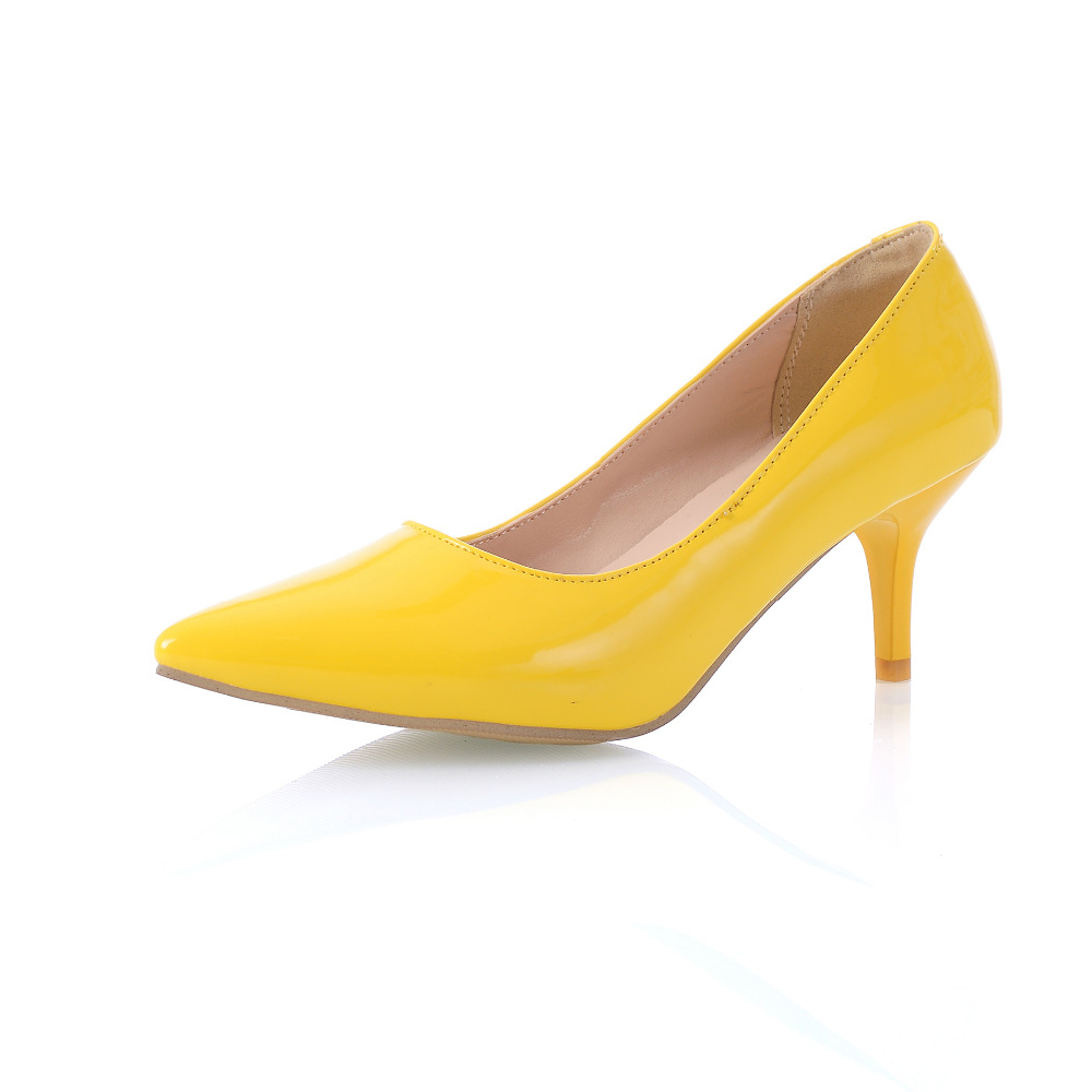 Yellow Low Heel Shoes - Boot Hto-9909