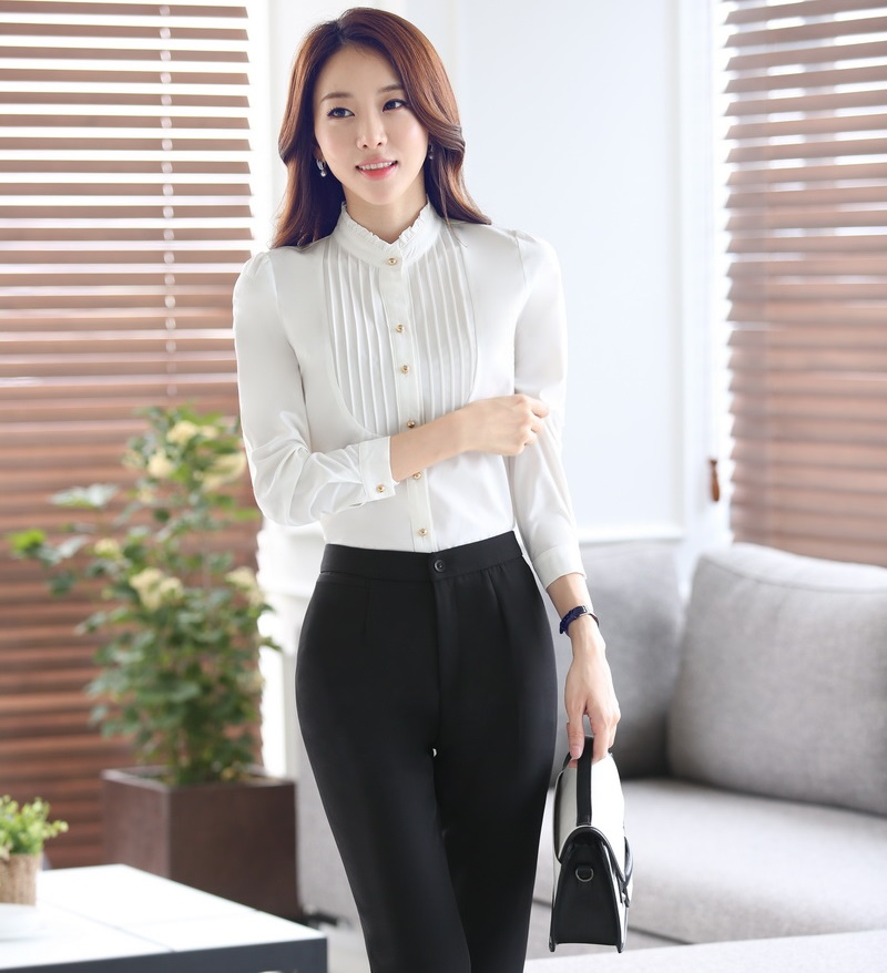 Formal OL Styles Female Pantsuits With Blouses And Pants Business Women Work Wear Spring Autumn ...