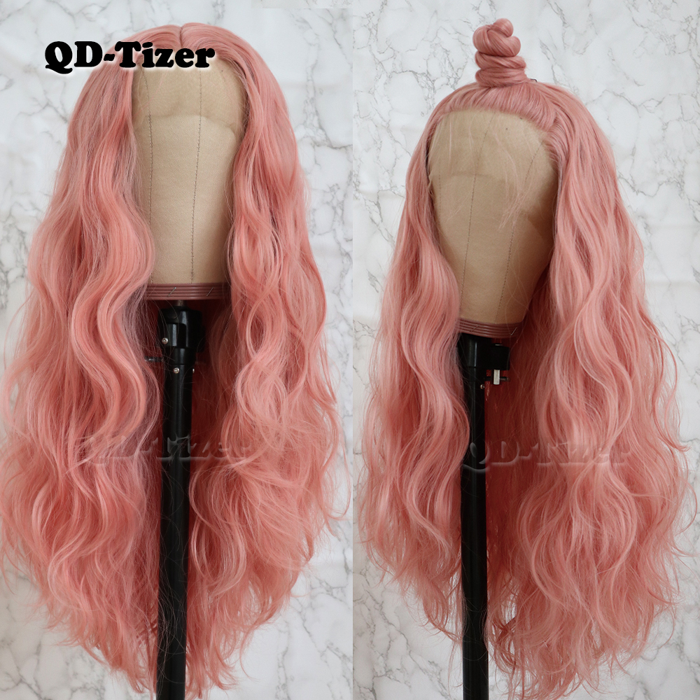 QD-Tizer Long Pink Hair Loose Wave Hair  Lace Wigs Free Part Glueless Synthetic Lace Front Wigs For Fashion Women