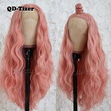 QD   Tizer ผมสีชมพูยาวหลวมคลื่นวิกผมลูกไม้ส่วนฟรีลูกไม้สังเคราะห์ด้านหน้าวิกผมสำหรับแฟชั่นผู้หญิง