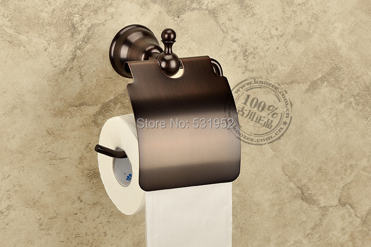 free shipping Stain Black Wall-mounted Toilet Roll Holders Toilet Paper Storage With Cover  bathroom accessories wholesale luxury golden color toilet paper holder wall mounted roll toilet paper rack with cover bathroom accessories free shipping 3308
