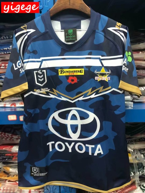 0403e75b993 2019 Queensland Cowboys Defence Jersey ANZAC WIL rugby Jerseys NRL National  Rugby League nrl Jersey Australia shirt s-3xl