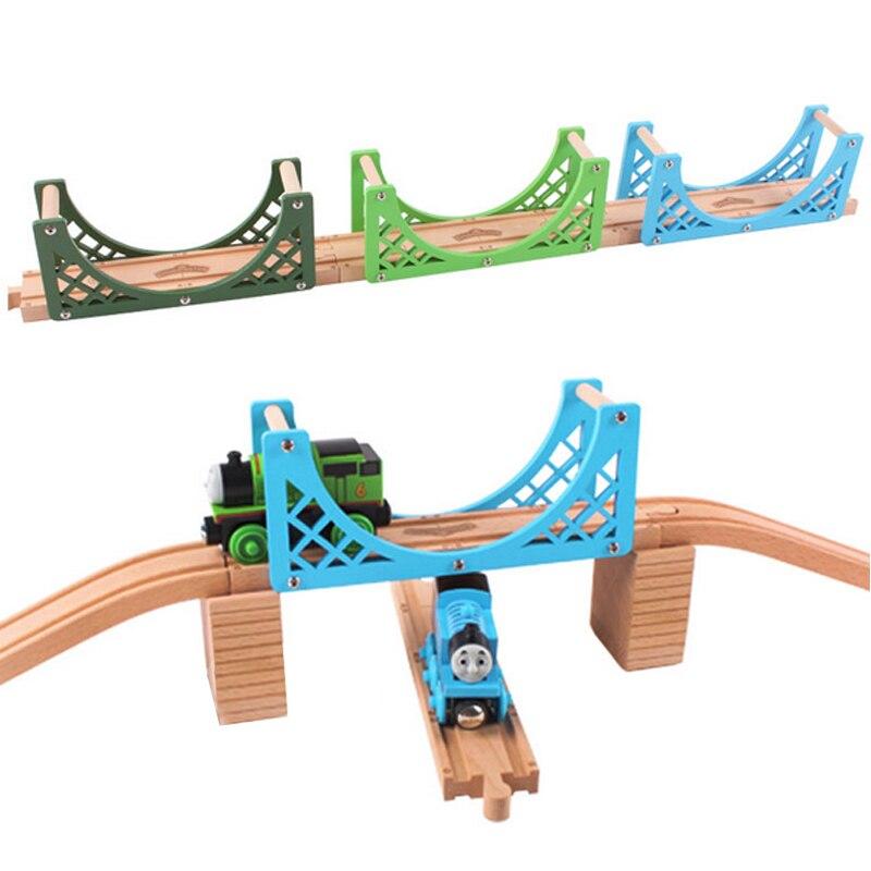 P095pure бук Двусторонняя мост Вуд трек аксессуары, совместимые Томас деревянный поезд трек дети пользуются трек игры сцены
