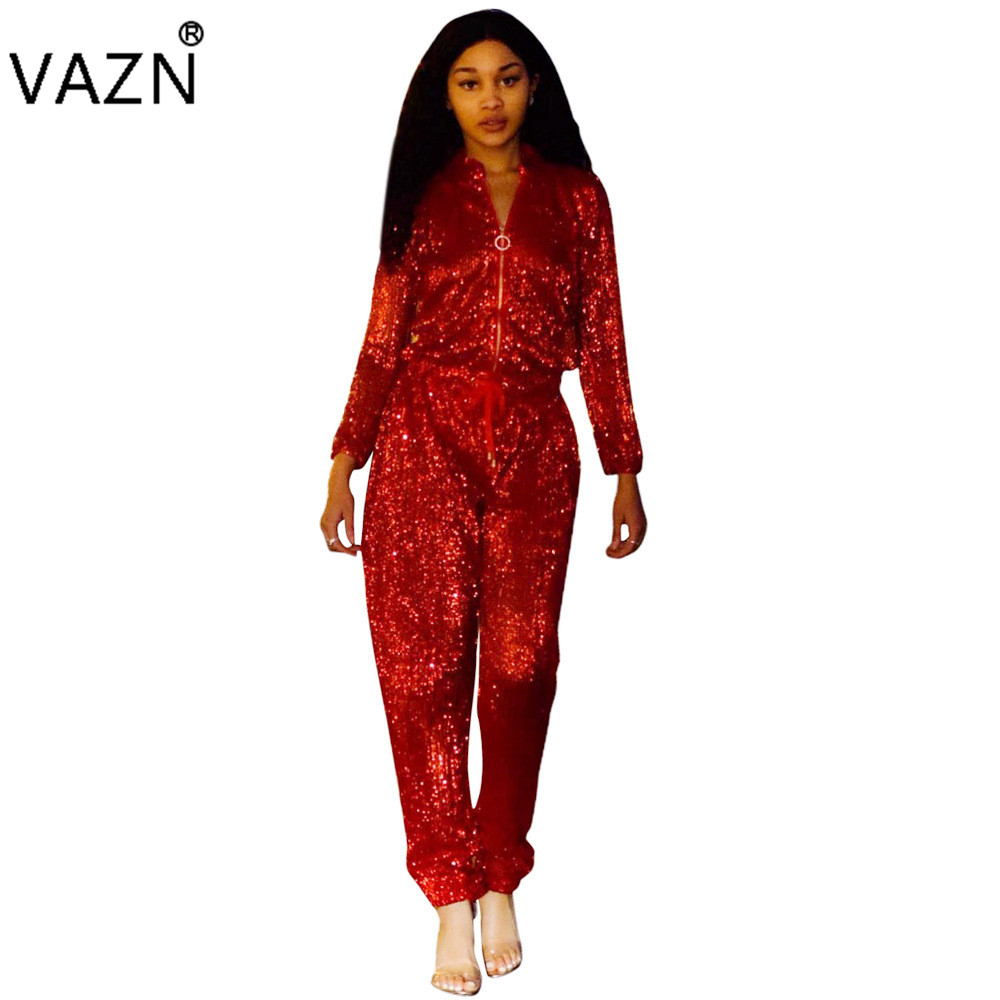 VAZN Top Quality New 2018 Casual Jumpsuit Full Sleeve Long Jumpsuit Red Sexy Women Jumps ...