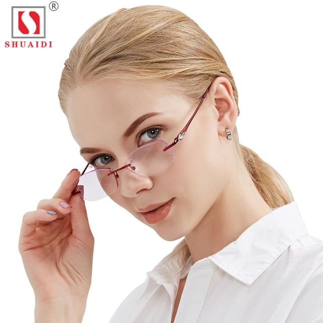 Lentes de Resina de moda Óculos de Leitura Mulheres Roxo Senhoras Óculos  Óculos Sem Aro Leve e53cdf843b