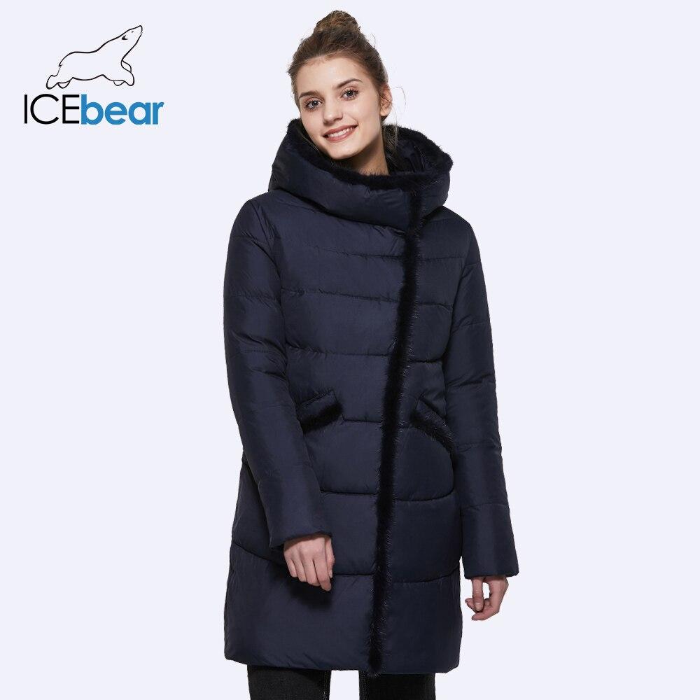 ICEbaer 2018 Для женщин средней длины зимняя куртка со стоячим воротником с капюшоном Дизайн меховой воротник теплый практичный большой карман п...